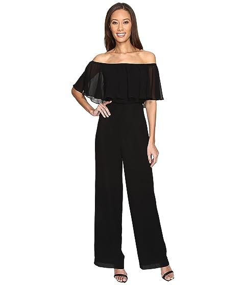 Donna Morgan Chiffon Jumpsuit with Elastic Ruffle Neckline at 6pm 875777305