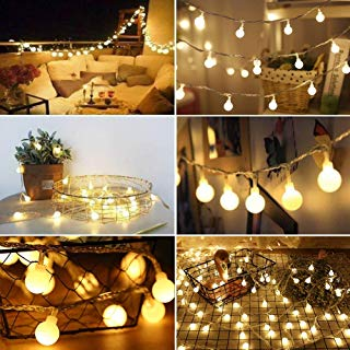 Twinkle Star 14.8 FT 40 LED String Lights, Waterproof Ball Fairy Lights, 8 Lighting Modes, String Light Battery Powered for Indoor Outdoor Garden Home Wedding Party Christmas Decoration, Warm White