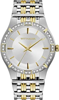 Wittnauer Mens WN3081 Quartz Diamond Accent Silver Dial Two-Tone 44.5mm Watch (Renewed)
