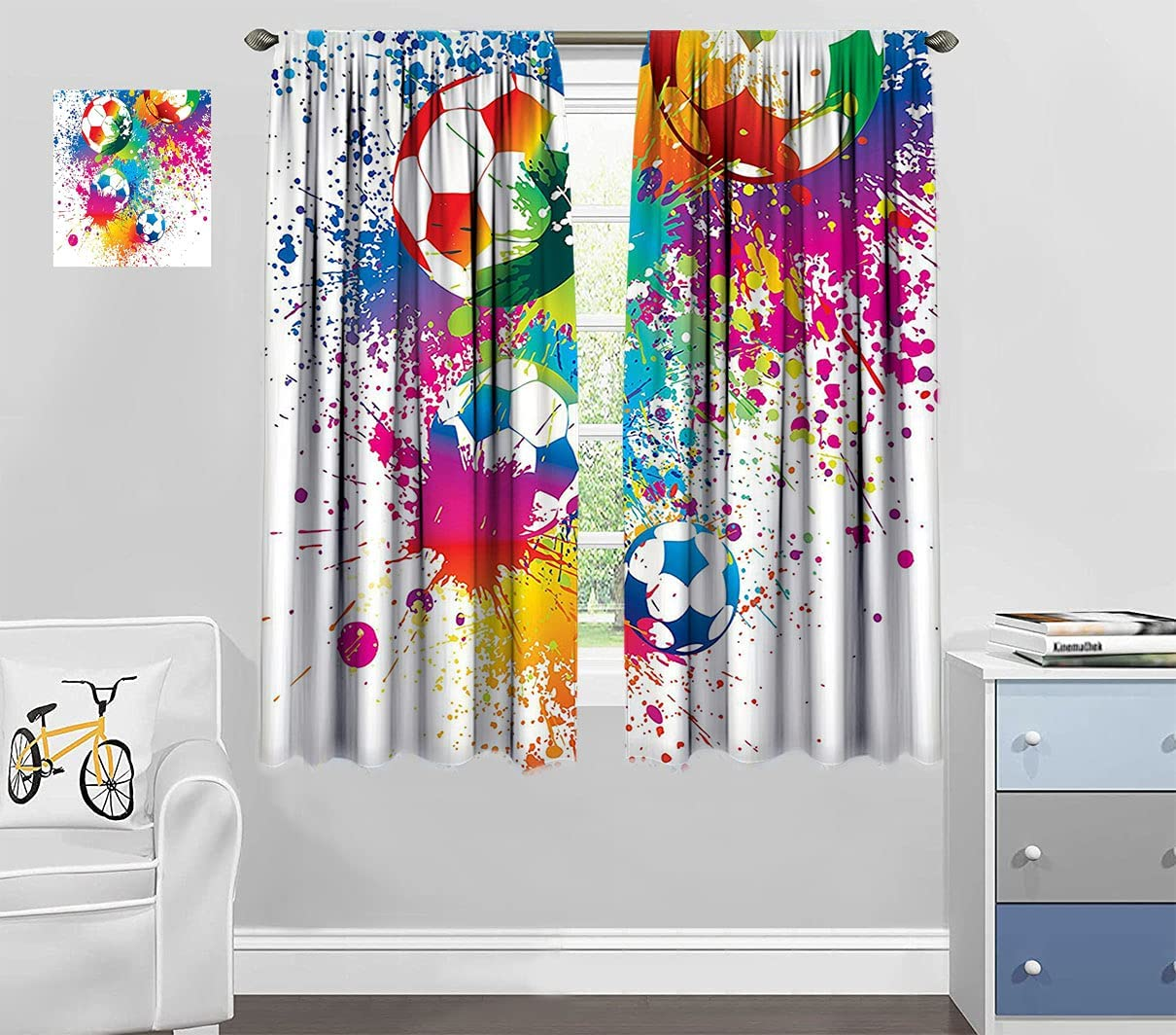 New High material arrival Sports Decor Curtains for Living All Room Colored Over Splashes