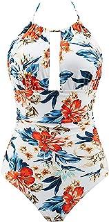 B2prity Women's Retro Deep V Neck Backless Halterneck Abdominal Monokini Swimwear