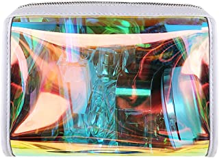 Gabrine Womens Girls Clear Transparent Rainbow Laser Hologram Cosmetic Makeup Travel Wash Bag(Clear)