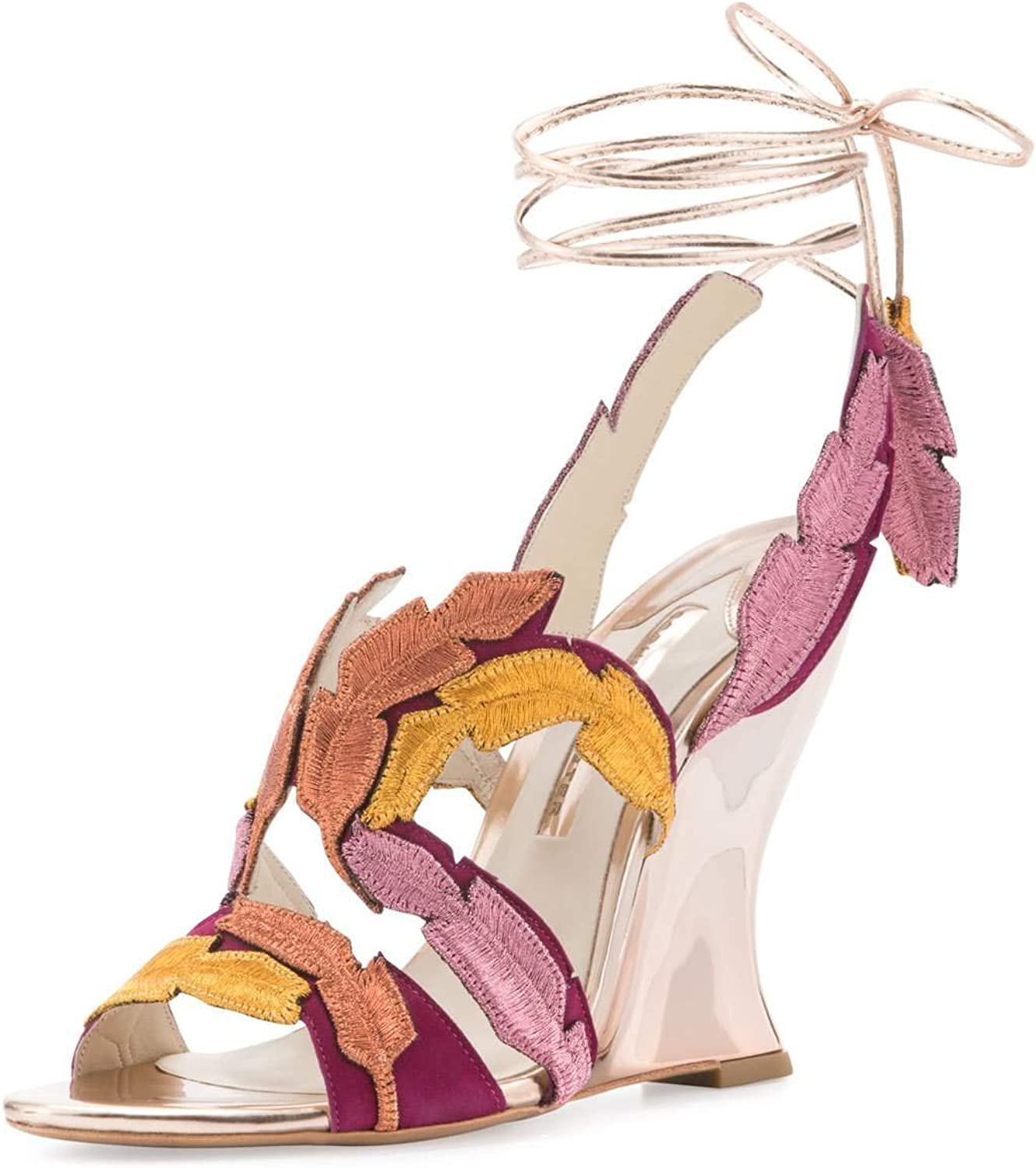 Sophia Webster Carrie Feather Wedge Sandal, Winter Cherry 37.5