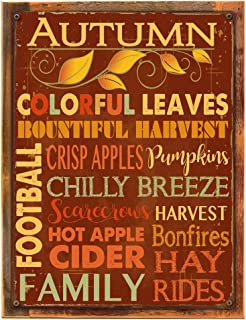 Homebody Accents Wood-Framed Autumn Words Subway Metal Sign, Autumn, Kitchen Décor, Thanksgiving, Fall, Harvest on Reclaimed, Rustic Wood