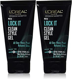 L'Oreal Paris Advanced Hairstyle Lock It Clean Style Gel, 5.1 Ounce (Pack of 2)