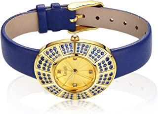 Luxury Gold Watches Women Sapphire Blue Leather Wrist Watch Band 108 Crystals