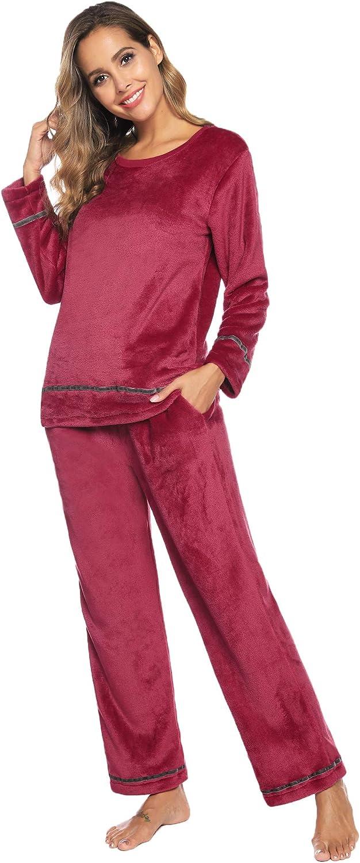 Ropa de Dormir de Franela Sykooria Conjunto de Pijama para Mujer Jersey de Manga Larga c/álida y Pantalones Largos para el Invierno