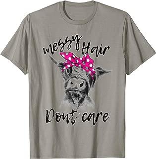 Messy Hair Don't Care Highland Cow Headband Gift T-Shirt T-Shirt