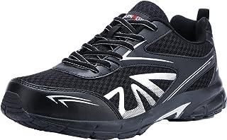 LARNMERN Scarpe Antinfortunistica Uomo Leggere,S1/SB SRC Sneaker da Lavoro Antiscivolo Traspirante Punta in Acciaio Scarpe