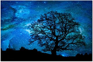 Starry Night Canvas Wall Art Black Tree Galaxy Landscape Prints Wall Decal Artwork,Starry Painting Prints For Living Room,Stretched on Premium Wood Frame,Ready to Hang