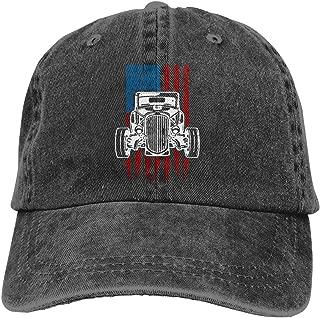 Vintage Hot Rod American Flag Classic Car Dad Hat Denim Baseball Cap Adjustable Polo Trucker Unisex Style Headwear