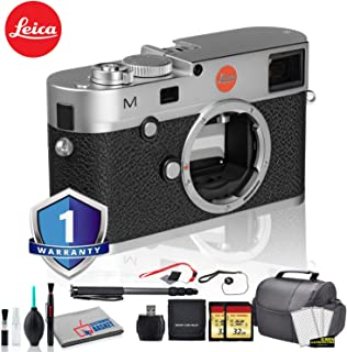 Leica M (Typ 240) Digital Rangefinder Camera (Silver) Bundle with 1 Year Extended Warranty + 2X 32GB Memory Card + LCD Screen Protectors + Monopod + White Balance Cards and More