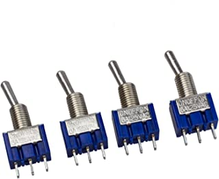 SODIAL(R) 4 x CA 125V 6A 3 Pin SPDT On/Off/On 3 Posicion Mini Interruptor de Palanca Azul