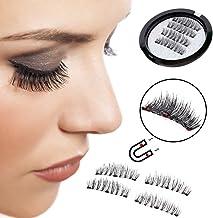 YCM 3 Magnetic False Eyelashes [ No Glue Needed ] Full Strip 3D Magnetic Eyelashes Hair Reusable Fake Eye Lashes (1 Pair 4 Pieces)