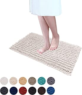 DEARTOWN Non-Slip Shaggy Bathroom Rug(20x32 Inches,White),Soft Microfibers Chenille Bath Mat with Water Absorbent, Machine Washable