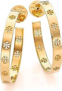 Tory Burch Pierced T Logo Hoop Earrings 16k Shiny Gold Plated 6196