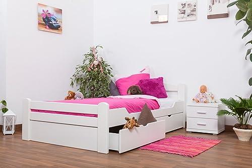 Jugendbett Easy Premium Line  K4 inkl. 2 Schubladen und 1 Abdeckblende, 120 x 200 cm Buche Vollholz massiv Weiß lackiert