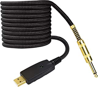 10ft 1/4 Inch to USB Guitar Instrument Cable, Luterra Electric Bass Guitar Cord for Recording, Durable Braided Design, Gol...