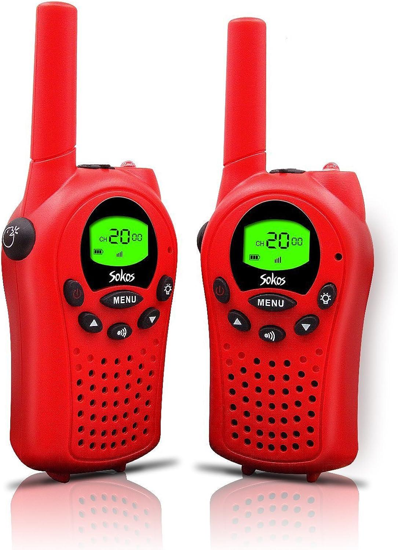 Walkie Talkies for Kids, 22 Channel Walkie Talkies 2 Way Radio 3 Miles (Up to 5Miles) FRS GMRS Handheld Mini Walkie Talkies for Kids (Pai (Red)