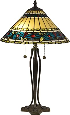 Dale Tiffany TT18190 Jeweled Leaves Table Lamp, Solid Brass Base