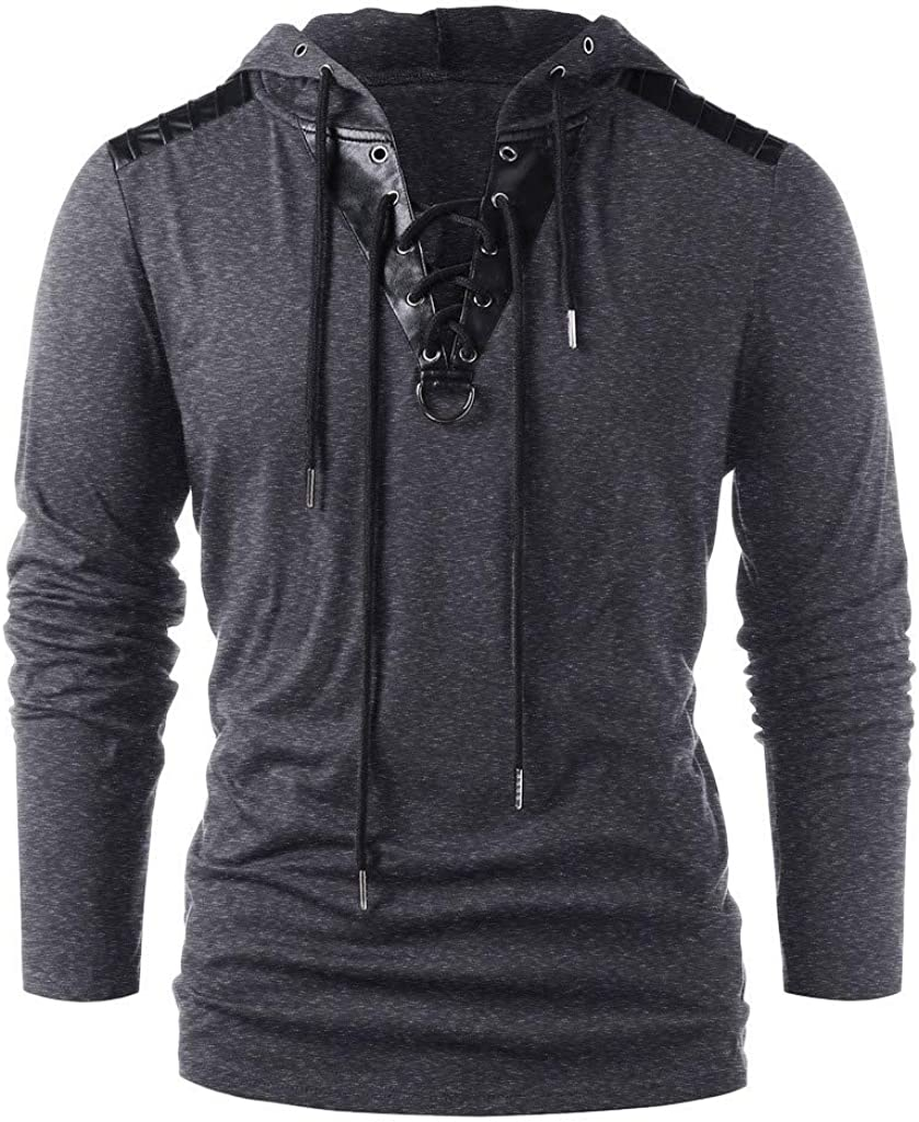 XXBR Hoodies for Mens, Fall V Neck Lace-up Drawstring Hooded Pullover Workout Fitness Vintage Casual Sweatshirts
