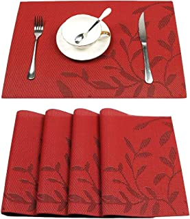 HEBE Placemats Set of 4 Heat-Resistant Placemats for Dining Table Woven Vinyl Stain Resistant Table Mats Washable Placemat Easy to Clean