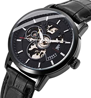BesTn Wristwatches for Men self-Winding Allochroic Luminous Hands Skeleton Mechanical Black Watch