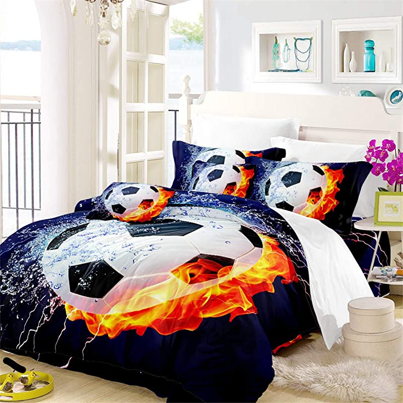 Oliven 3D Boys Bedding Sets Full Size Soccer Ball Football 100 Breathable Polyester Kids Duvet Cover Set 3 Pcs No Comforter And Sheet