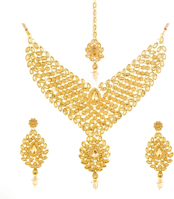 Efulgenz Indian Crystal Kundan Bollywood Gold Plated Bridal Wedding Choker Necklace Earring Maangtikka Jewelry Set