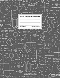 Grid Paper Notebook, Quad Ruled, 100 Sheets Large: Math Notebook 1/2 Inch Squares Graph Notebook - Composition Of Scientif...