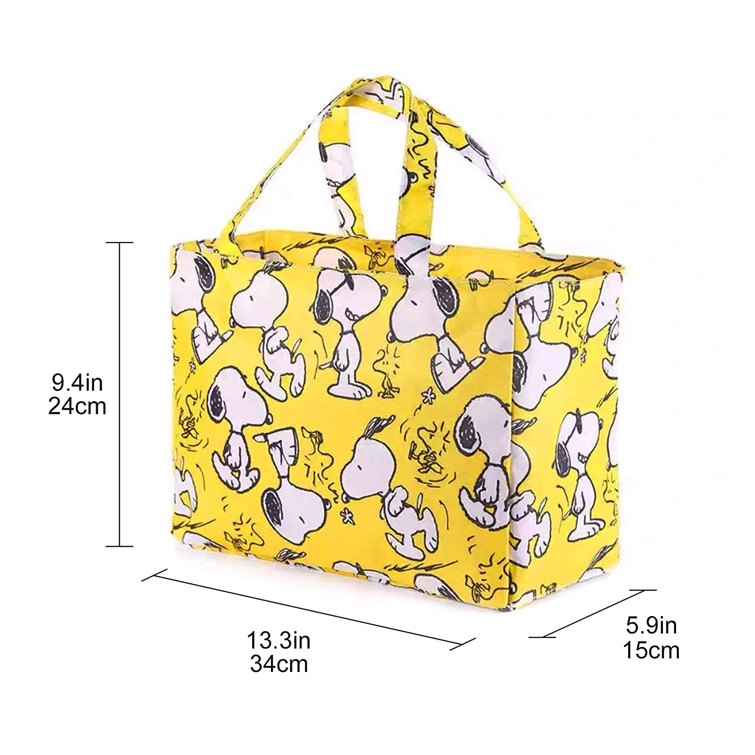 Finex Yellow Snoopy and Woodstocks Waterproof PVC Rectangular Hand Carry Diaper Bag Tote with Multiple Dividers Open Pockets Handles Zipper Closure