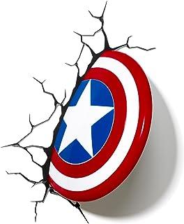 3D Light FX Applique Murale à Del Bouclier de Captain America Marvel Décoration 3D, 816733002187, Red, White and Blue