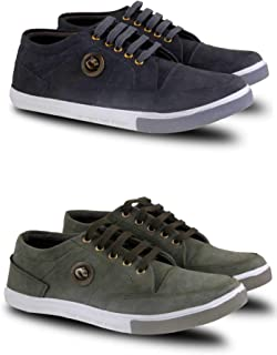 FABBMATE Combo of 2 Denim Casual Shoes for Men | Grey | Green | Boys Sizes 6, 7, 8, 9, 10 |