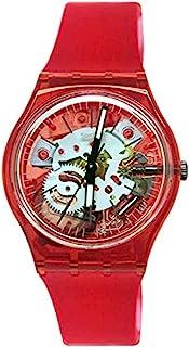 ساعة كوارتز بسوار من السيليكون للرجال من سواتش، لون احمر، 20 (رقم الطراز: GR178)