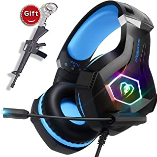SVYHUOK Gaming Headset for PC, Xbox One, PS4, Ultralight Over-Ear Headphones with Noise Cancelling MIC, RGB LED Light,Stereo Surround Sound Earphones, Gift idea for Kids, boy, Teen, Gamer