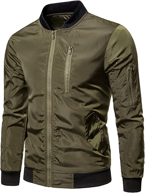 FORUU Slim Fit Coat for Mens 2021 Fashion Winter Jacket Solid Long Sleeved Ribbed Cuff Zipper Jacket Sports Jacket
