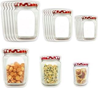 No branded DMFSHI Sacchetti con Cerniera Alimenti 25 PCS Ziplock Sacchetti per Alimenti,Mason Bag Fresh Zipper Bag Sacchetto di Conservazione degli Alimenti per Biscotti al Forno Snack Candy