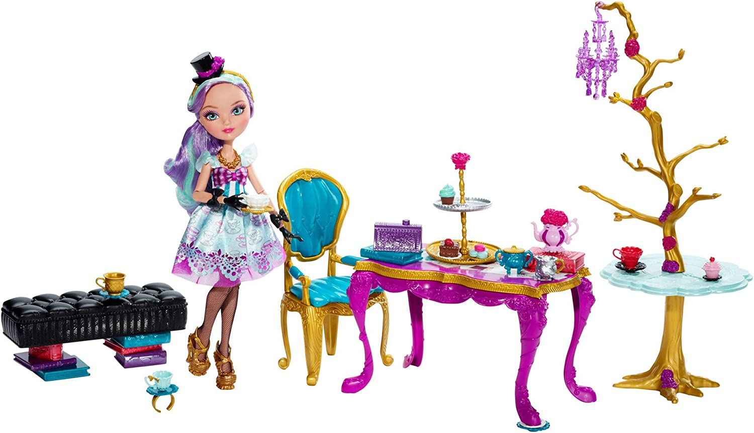 Ever After High  Madeline Hatter Hattastic Tea Party Playset  Includes Doll and Toy Accessories