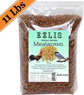 Ezlis Dried Mealworms for Chickens 11lbs - Chicken Treats, Duck Feed, Organic Chicken Feed, High-Protein Meal Worms Bulk Food for Chickens, Bluebird Food, Poultry Feed, Hens, Wild Birds, Fish, Turtle