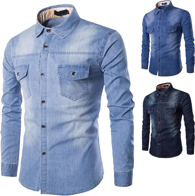Huangse Men's Casual Button Down Shirts Retro Denim Shirt Long Sleeve Work Woven Shirts Outdoor Top with Pocket