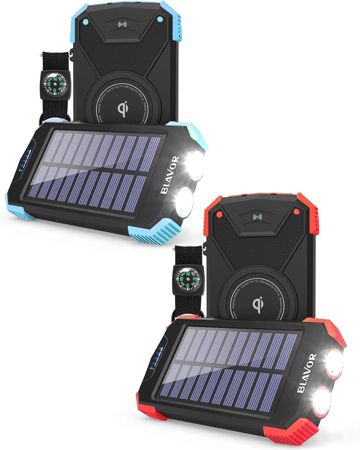 10 000mAh Solar Phone 即納 Charger with Wirele 信憑 Qi and Flashlight Dual