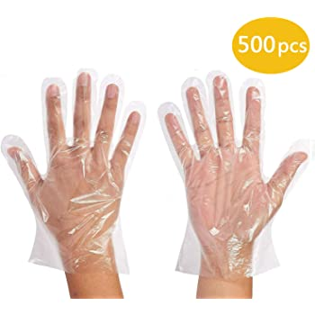 -L 500pcs Polyethylene Food Service Disposable Gloves Vinyl Nitrile Latex Free