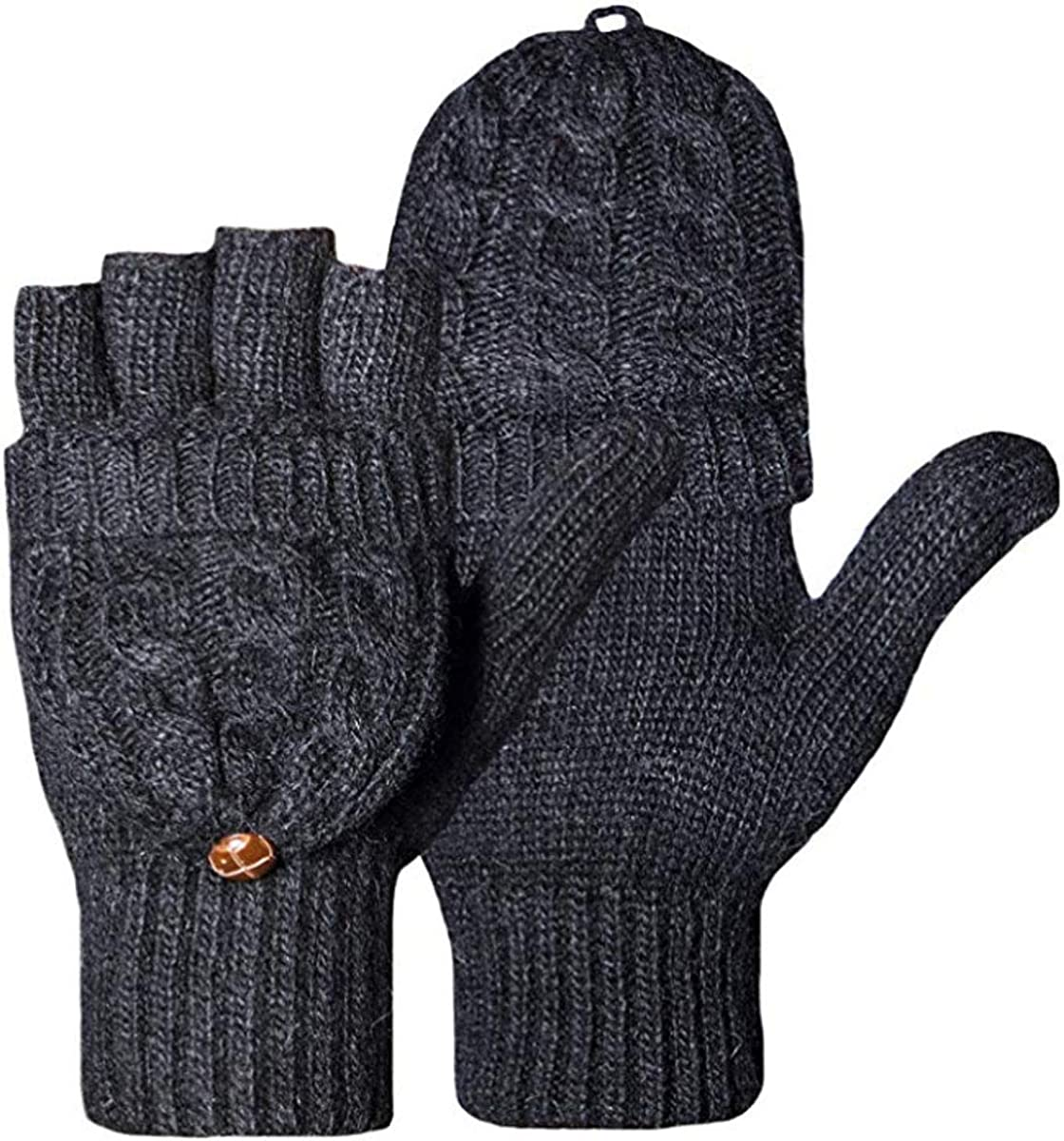 Women Knitted Fingerless Gloves Mittens Wool Texting Thermal Snow Gloves Mitts