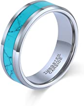 POYA 8mm Tungsten Wedding Band Turquoise Rings for Men Beveled Edges Comfort Fit