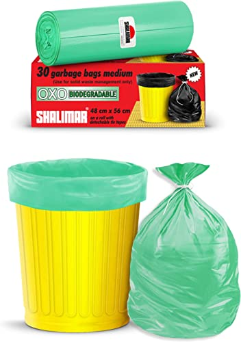 Shalimar Premium OXO - Biodegradable Garbage Bags (Medium) Size 48 cm x 56 cm 4 Rolls (120 Bags) (Dustbin Bag/Trash B...