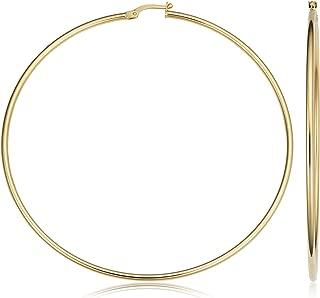 KoolJewelry 14k Yellow Gold Hoop Earrings (20 mm, 25 mm, 30 mm, 35 mm, 45 mm, 70 mm or 90 mm)