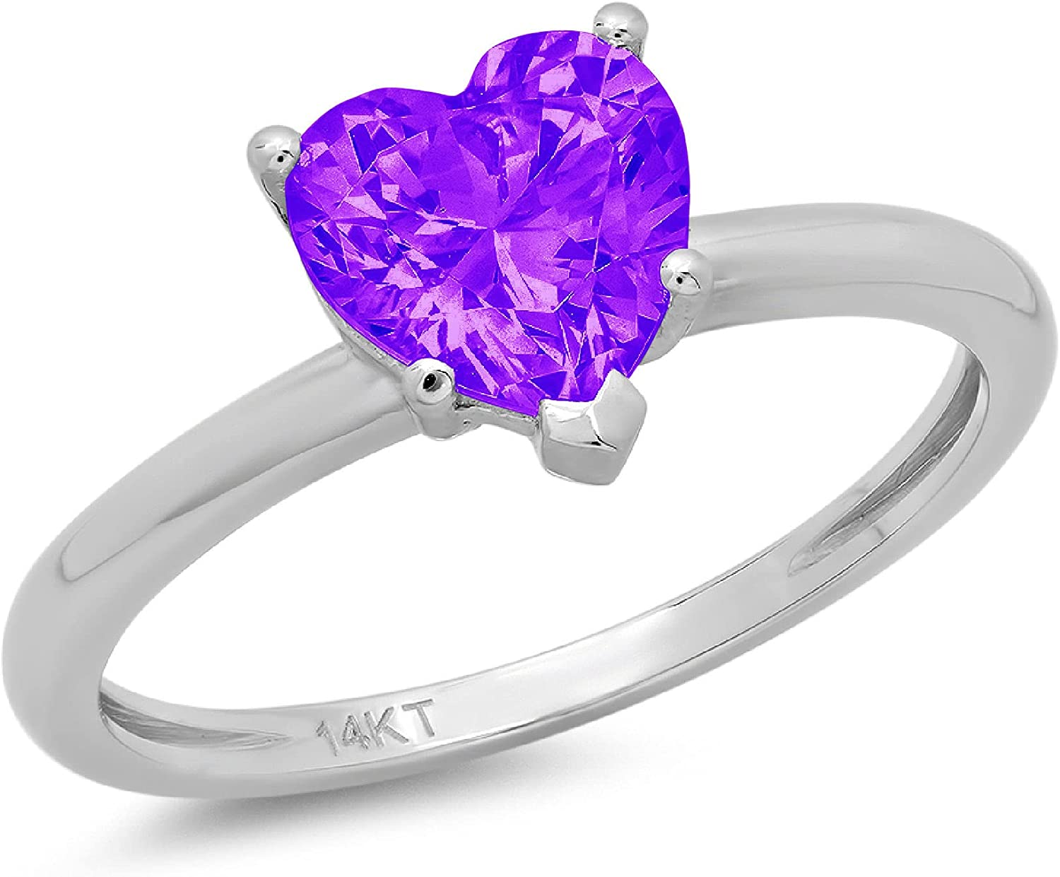 0.95ct Brilliant Heart Cut Solitaire Natural Purple Amethyst Ideal VVS1 5-Prong Classic Designer Statement Ring Solid Real 14k White Gold for Women