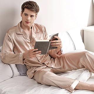 ZLR 春と秋のカップルのシルクパジャマロングスリーブ氷シルクのホーム服セット男性と女性の家の服のバスローブ ( サイズ さいず : A-XXL )
