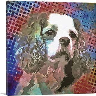 ARTCANVAS Cavalier King Charles Spaniel Dog Breed Polka Dot Pattern Canvas Art Print - 18