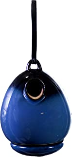 "BYER OF MAINE Alcyon Egg/Bottle Bird Home, Porcelain, Glaze Finish, Cobalt Blue, 7""x7""x9"""